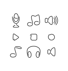 Music audio set icons vector image vector image