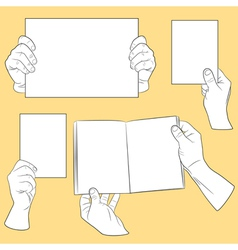 Set of human hands with paper vector image vector image