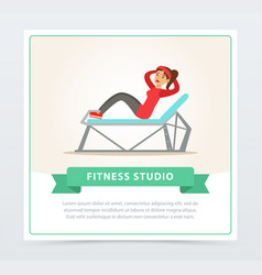 young woman doing press exercise on a bench vector image