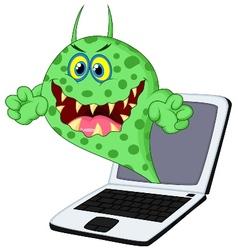 Cartoon virus on laptop vector
