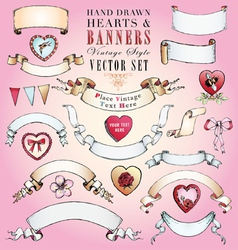 Hand-Drawn Hearts and Banners Set vector image vector image