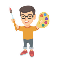 happy boy drawing with colorful paints and brush vector image