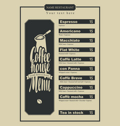 menu with price for the coffee house with a pots vector image vector image