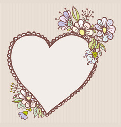 postcards doodle heart with flowers vector image vector image