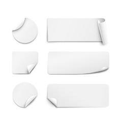 White paper stickers on white background vector image vector image