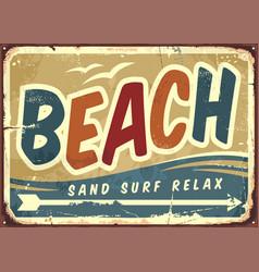 Beach sign retro background vector