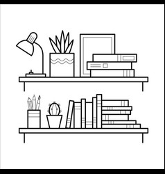 bookshelf in thin line style vector image vector image
