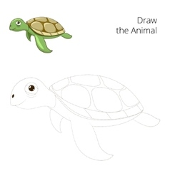 Draw the sea animal turtle educational vector