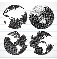 Planet earth hand writing world map vector image vector image