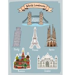 World Landmarks hand-drawn icons set vector image