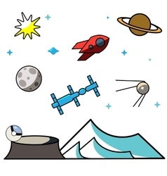 Colored Outline Space Icons vector image vector image
