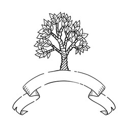 hand drawn scetch tree with ribbon banner vector image