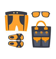 Slippers shorts sun glasses and bag in orange vector