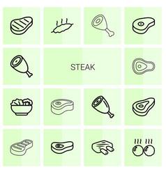 14 steak icons vector