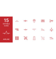 15 airline icons vector