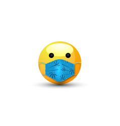 3d cartoon bubble emoticon with medical mask face vector image