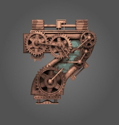 7 rusted letter with gears vector