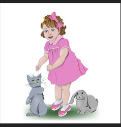 a girl with her little friends vector image