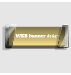 Abstract web banner in realistic style with glass vector image