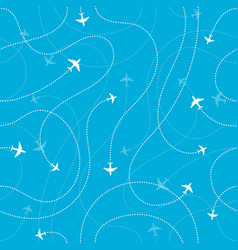 Airplane destinations seamless background vector
