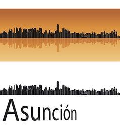 Asuncion skyline in orange background vector