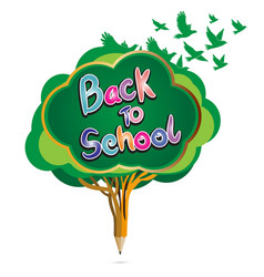 back to school pencil education by green apple vector image