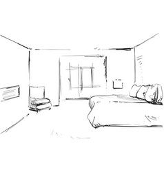 Bedroom modern interior drawing isolated on vector