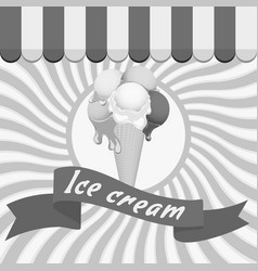 black-and-white poster - waffle ice cream cone vector image