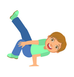 Boy doing stand on one hand dancing breakdance vector