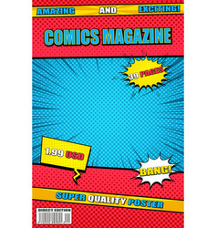 bright comics magazine template vector image