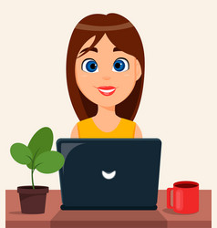 Business woman entrepreneur working on a laptop vector