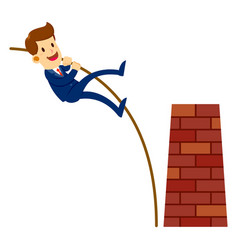 businessman leaping through obstacle wall vector image