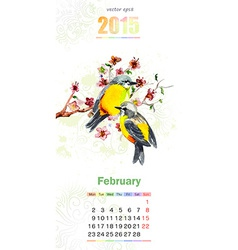 calendar for 2015 february vector image