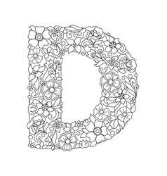 Capital letter d patterned with abstract flowers vector