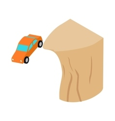 Car falls off a cliff icon isometric 3d style vector