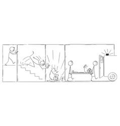 Cartoon comic strip or technology addicted man vector