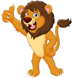 Cartoon lion giving thumb up vector