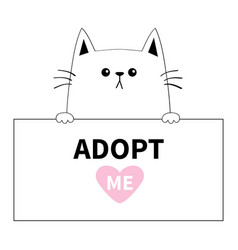 cat head face hanging on paper board adopt me vector image