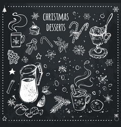 christmas food and desserts set chalk icons vector image