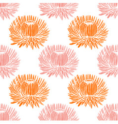 chrysanthemum graphic pattern in hand drawn style vector image