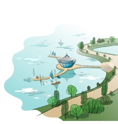 Colored linear landscape with quay and boats vector