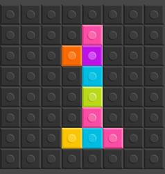 Colorful brick block number one flat design vector