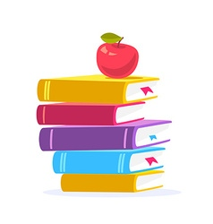 colorful of close up stack of books with red vector image