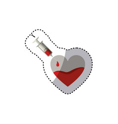Colorful sticker needle syringe donate blood in vector