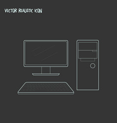 computer icon line element of vector image
