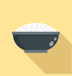 cooked rice bowl icon flat style vector image
