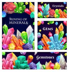 Crystal gems gemstones or mineral crystallization vector