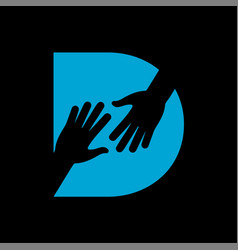 D letter on helping hand logo vector