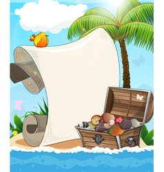 Desert island and treasure chest vector image