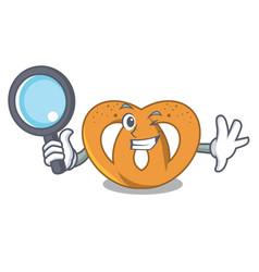 detective pretzel character cartoon style vector image